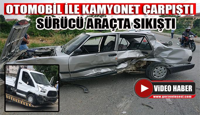 Kamyonet ile otomobil çarpıştı 1 yaralı