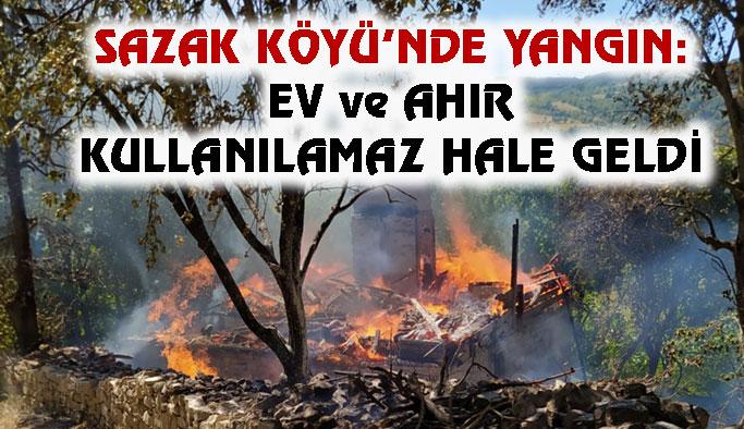 Sazak Köyü'nde Yangın