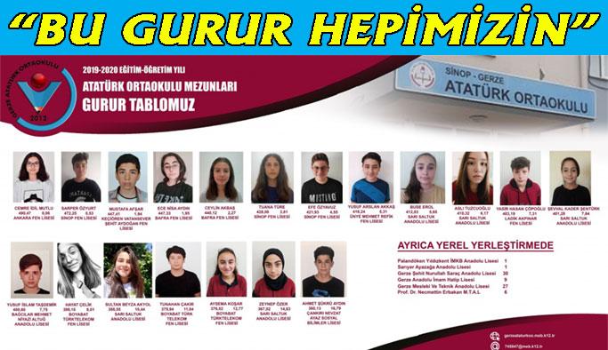 Atatürk Ortaokulu'nun 'Gurur Tablosu'