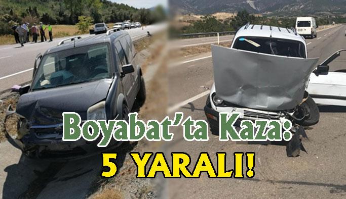 Boyabat'ta trafik kazası: 5 Yaralı !