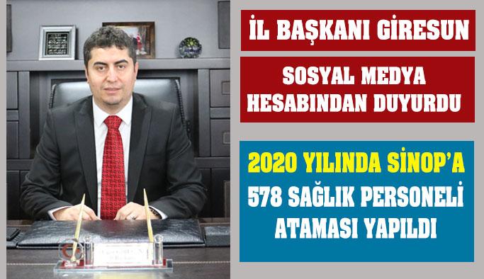 Sinop'a Sağlıkta Rekor Atama