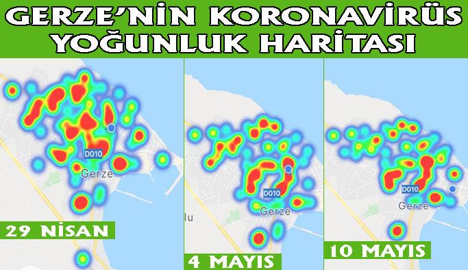 İşte Gerze'nin koronavirüs yoğunluk haritası
