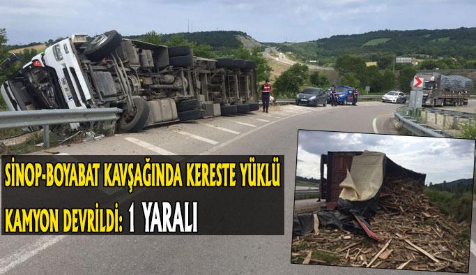 Kereste yüklü kamyon devrildi: 1 yaralı