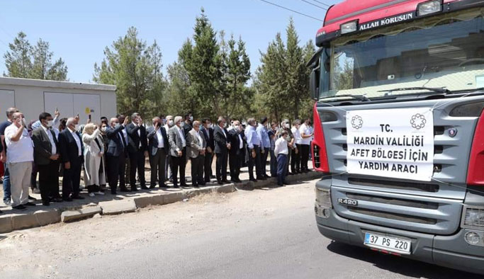 Mardin'den afet bölgesine 17 tır yardım gönderildi!