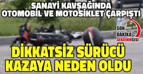 Motosiklet ve Otomobil Sanayi Girişinde Çarpıştı