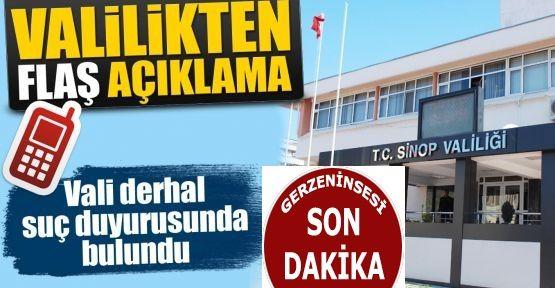 Sinop Valiliği sahte SMS'e suç duyurusu