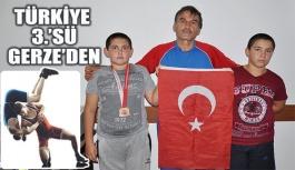 Gerzeli güreşçi Türkiye 3.'sü oldu