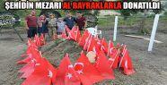 Şehidin Mezarı Al Bayraklarla Donatıldı