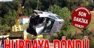 Virajı alamayan araç Kaza Yaptı